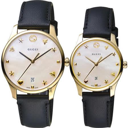 GUCCI古馳 G-Timeless 海洋超薄手錶-珍珠貝x黑色錶帶/36mm YA1264044