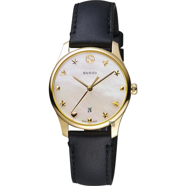 GUCCI古馳 G-Timeless 海洋超薄女錶-珍珠貝x黑色錶帶/28mm YA126589