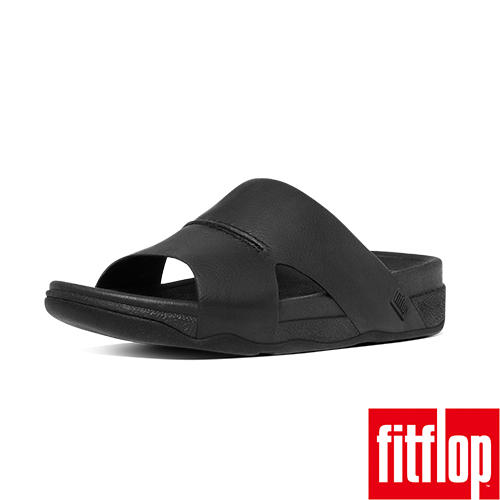 FitFlop™_(男款)BANDO™ LEATHER SLIDE-黑色