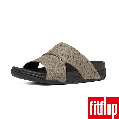 FitFlop™_ 男款 BANDO™ LEATHER SLIDE OSTRICH~淺木色