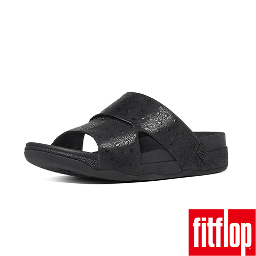 FitFlop™_(男款)BANDO™ LEATHER SLIDE OSTRICH-黑色