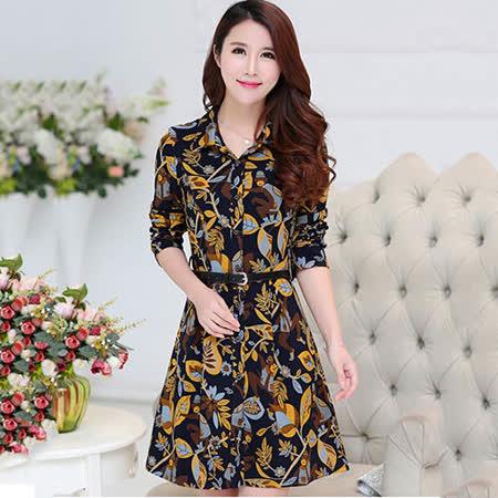 Jisen (L - 3L)<br>花艷襯衫式洋裝