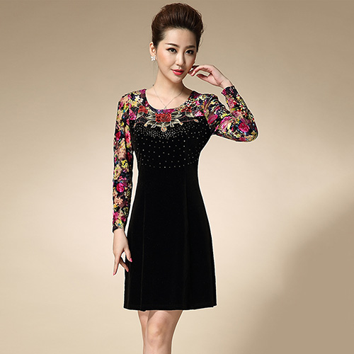 【Jisen】奢華絲絨繡修身洋裝 ( XL - 3L ,共二色)