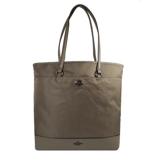 COACH 馬車LOGO尼龍皮革拼接肩背直式購物包.灰 F57903