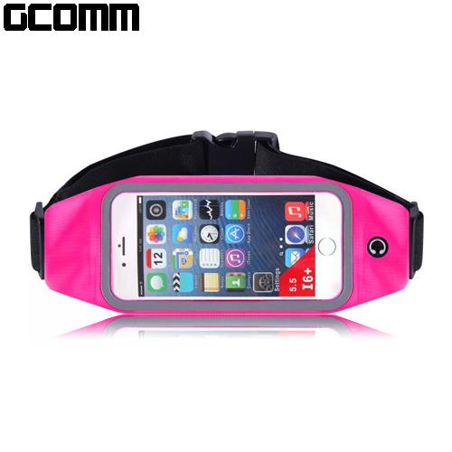 GCOMM SPORT 穿戴式音樂防汗水運動腰包 5.7吋以下通用 玫紅色