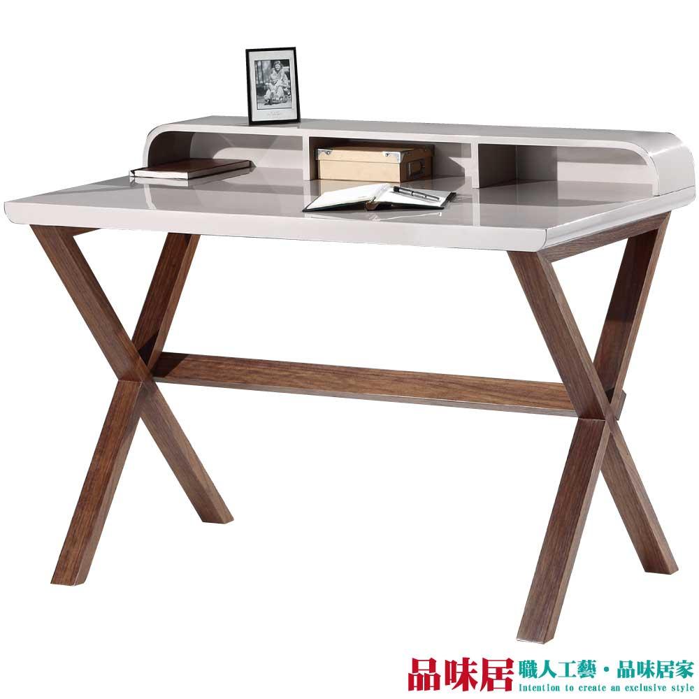 【品味居】斯拉夫 時尚4尺木紋雙色書桌/電腦桌