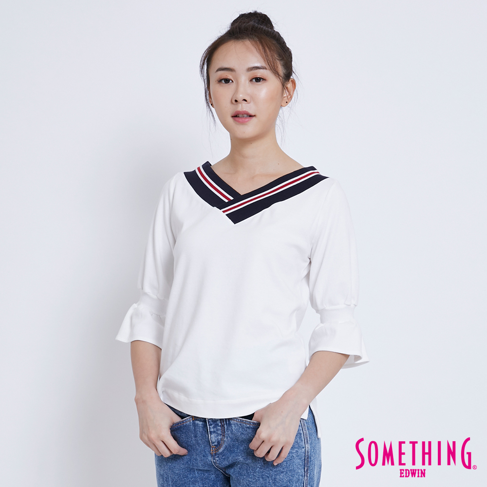 SOMETHING 復古大V領喇叭袖T恤-女-白色