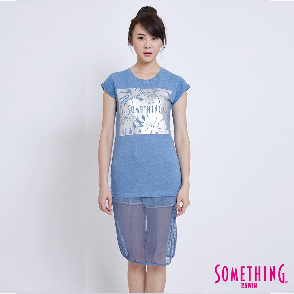 SOMETHING 下擺網紗拼接長版短袖T恤-女-漂淺藍