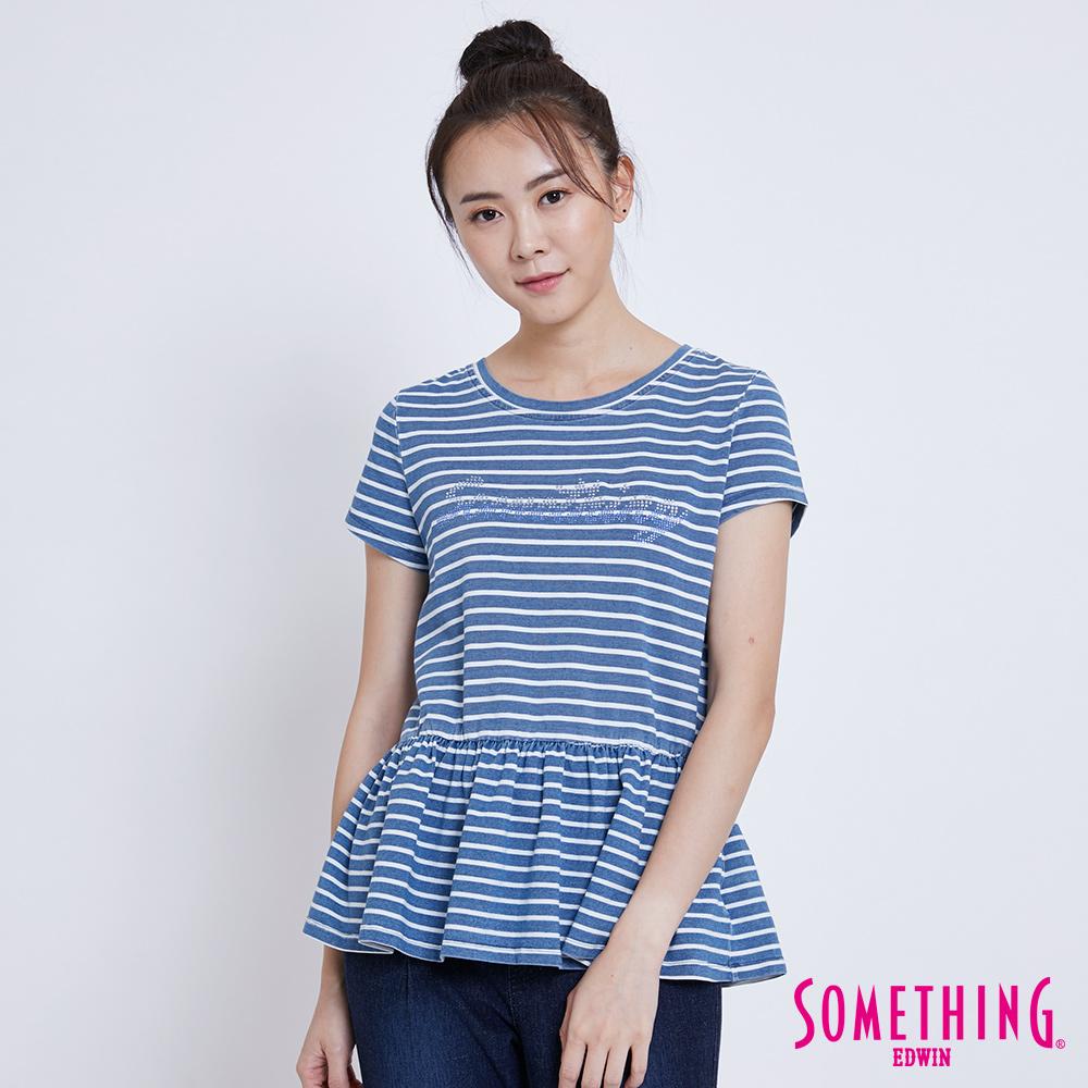 SOMETHING 靛藍休閒條紋短袖T恤-女-漂淺藍