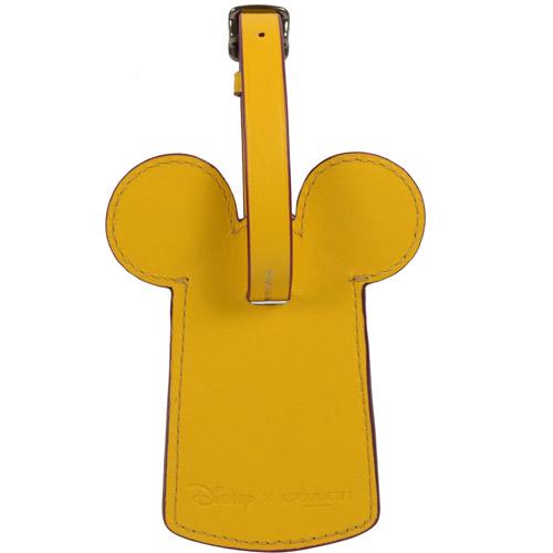 COACH 限量米奇造型皮革行李名牌吊飾.黃 F58945