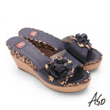A.S.O 輕量真皮立體花漾拼接豹紋高跟涼拖鞋(黑)