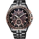 CITIZEN 星辰 光動能電波鈦金屬腕錶-咖啡x黑/43mm AT9096-73E