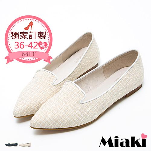 【Miaki】MIT 紳士鞋真皮日式女伶和風尖頭低跟包鞋 (米色)