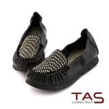 TAS 幾何鉚釘莫卡辛休閒鞋-焦點黑