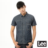Lee 牛仔造型口袋短袖襯衫/UR-男款-藍