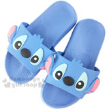 〔小禮堂〕迪士尼 史迪奇 塑膠厚底拖鞋《藍.大臉》室內室外兩穿