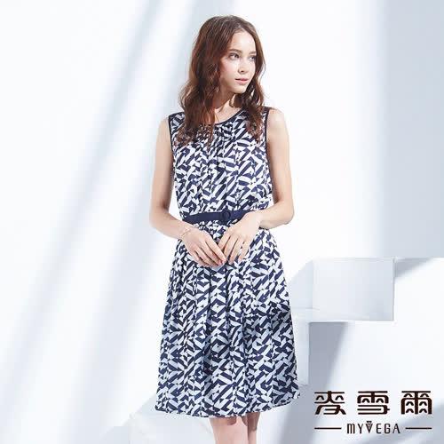 【麥雪爾】不規則斜條紋腰帶百摺短洋裝