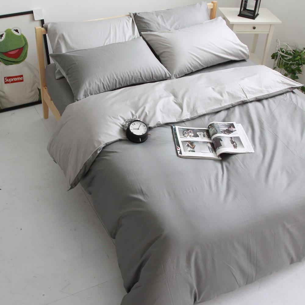 OLIVIA 《 BEST 1 鐵灰X銀灰  》 雙人床包枕套三件組 雙色系 素色雙色簡約