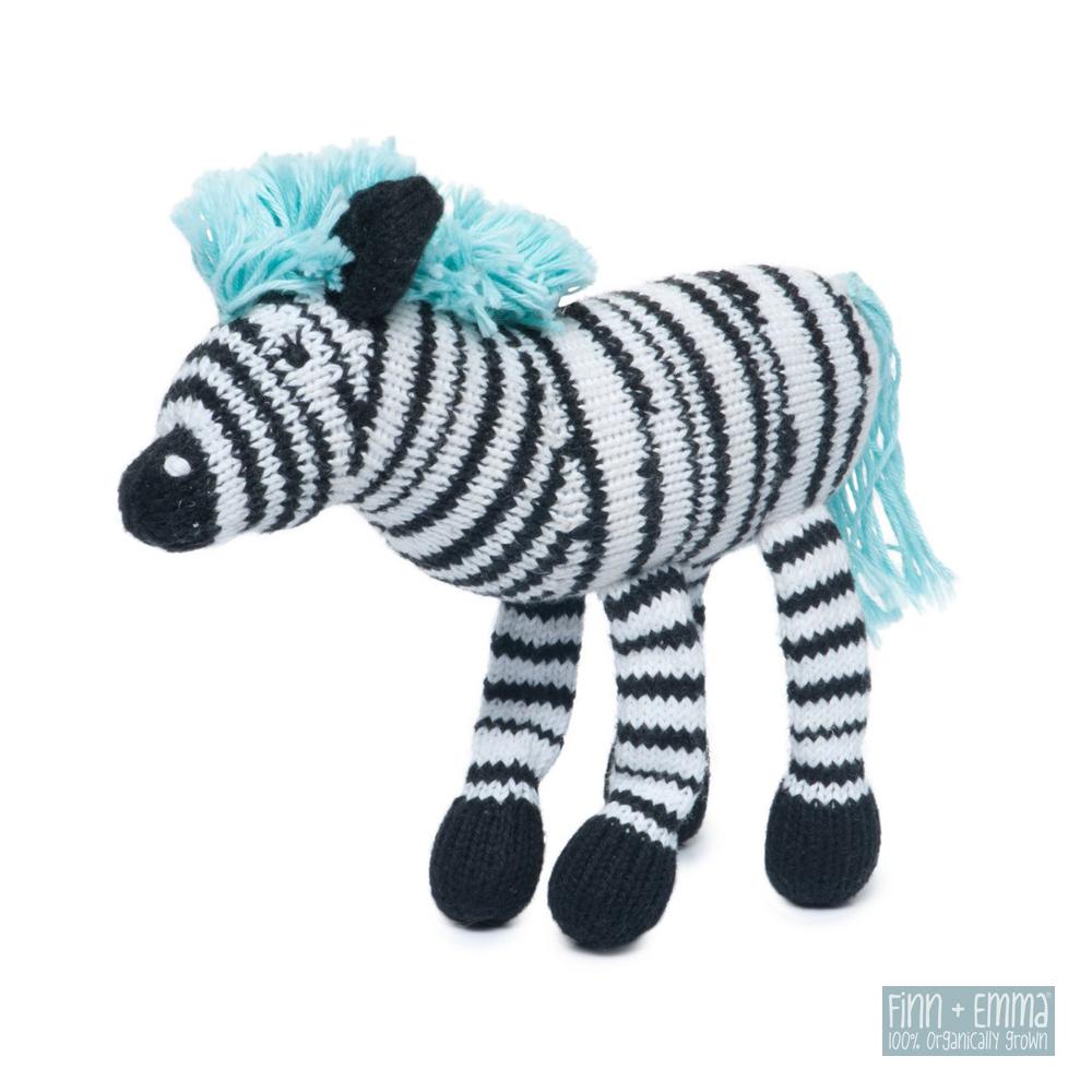美國 FINN & EMMA 有機棉手工針織娃娃搖鈴 (小斑馬)