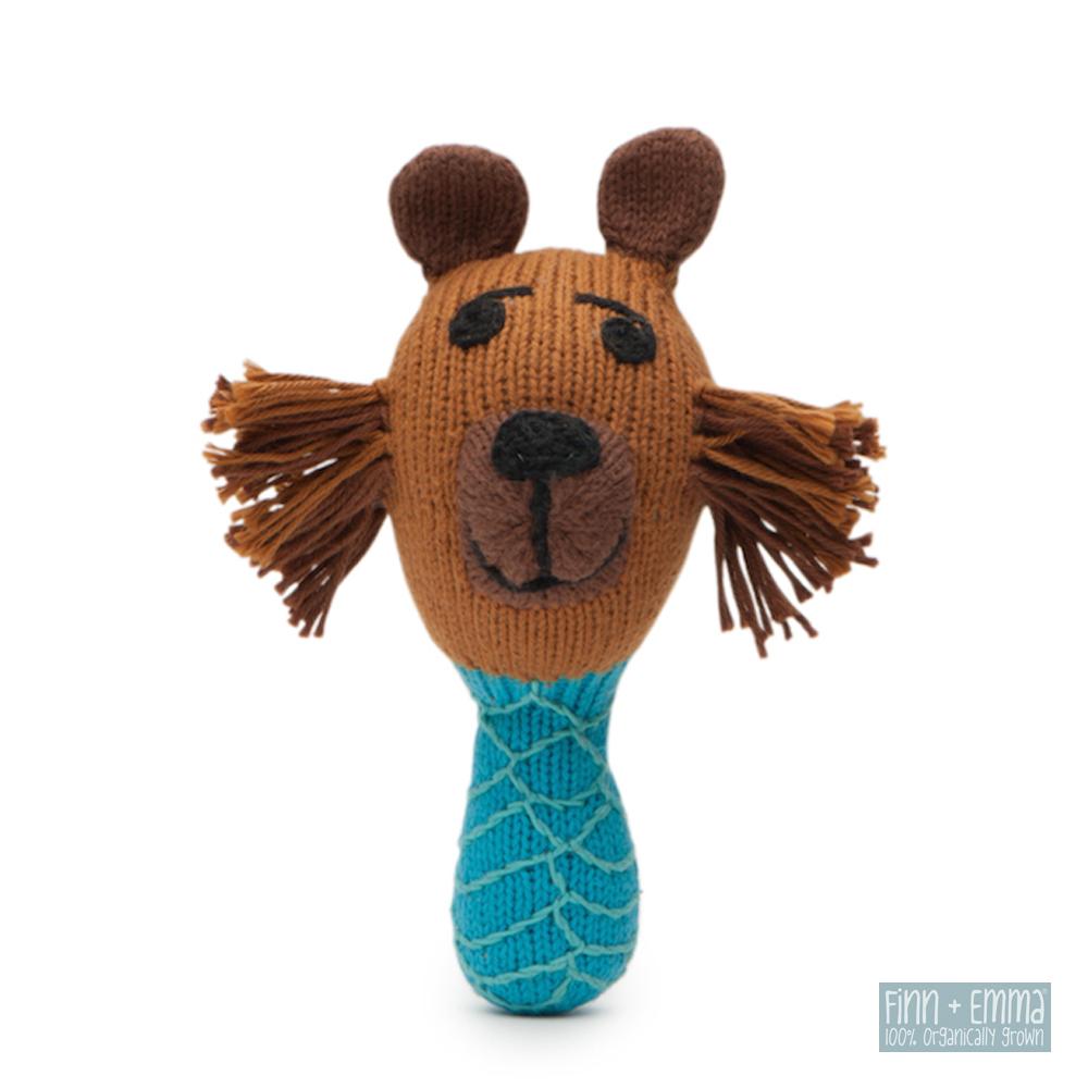美國 FINN & EMMA 有機棉手工針織娃娃搖鈴棒 (佛德瑞克大熊)
