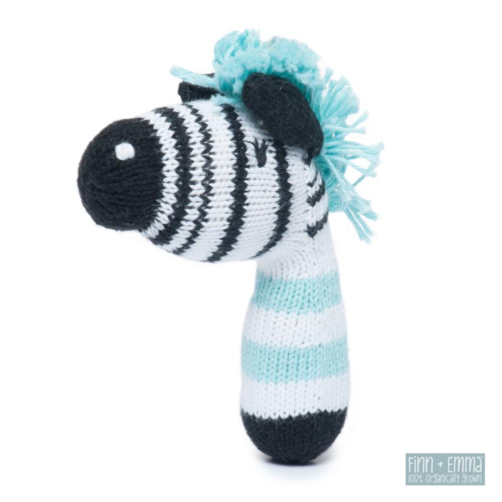 美國 FINN & EMMA 有機棉手工針織娃娃搖鈴棒 (小斑馬)