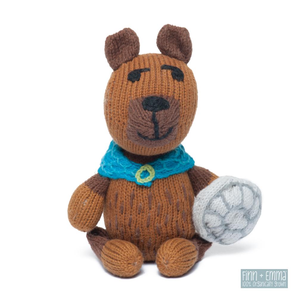 美國 FINN & EMMA 有機棉手工針織娃娃搖鈴 (佛德瑞克大熊)