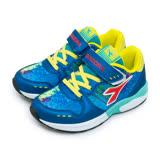 【中童】DIADORA 17cm-22cm 輕量避震慢跑鞋 亮麗炫彩系列 藍紅黃 5006