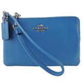 COACH 馬車素面皮革L型手拿包(藍)64755