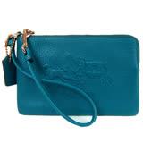 COACH 浮雕馬車荔枝皮L拉鍊手拿包(藍綠)52500