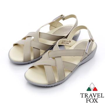 Travel Fox 多彩網紋休閒皮涼鞋-917351-(灰-313)(女)