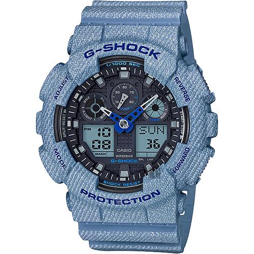CASIO 卡西歐 G-SHOCK 限量丹寧雙顯手錶-淺藍 GA-100DE-2ADR