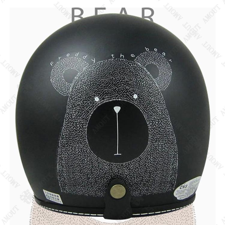 ~EVO CA~309 手繪熊 安全帽~teddy beer│車縫線邊條│半罩│騎士帽│復