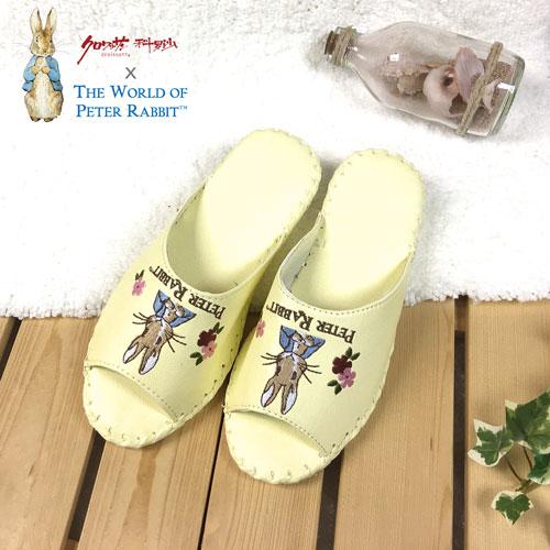 【クロワッサン科羅沙】Peter Rabbit 室內鞋 花兔顏皮拖 淺黃24CM
