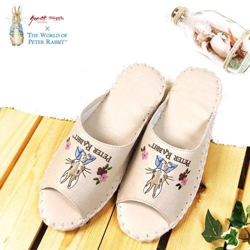 【クロワッサン科羅沙】Peter Rabbit 室內鞋 花兔顏皮拖 米色26CM