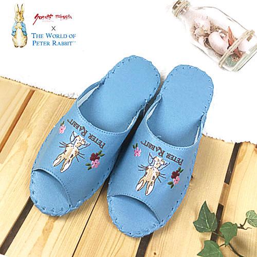 【クロワッサン科羅沙】Peter Rabbit 室內鞋 花兔顏皮拖 藍色26CM