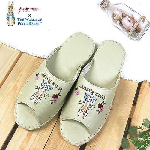【クロワッサン科羅沙】Peter Rabbit 室內鞋 花兔顏皮拖 象牙色27CM