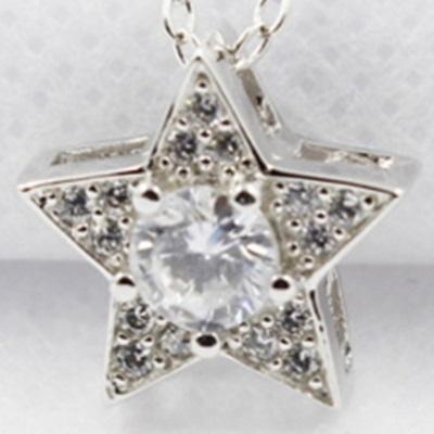 925純銀項鍊鑲鑽吊墜流行飾品-星星造型迷人時尚流行母親節生日情人節禮物女配件73y101【米蘭精品】