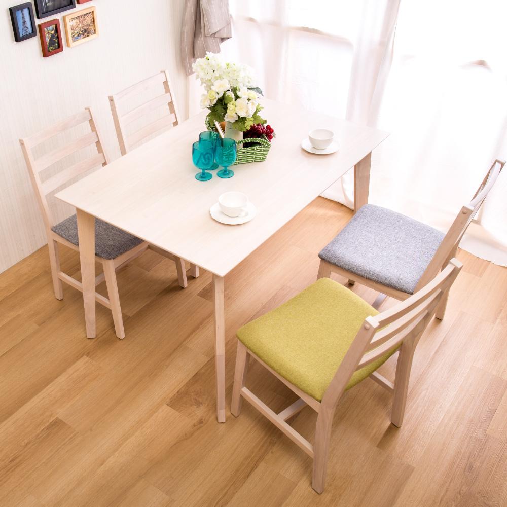 全實木橡木製 洗白色餐桌椅組