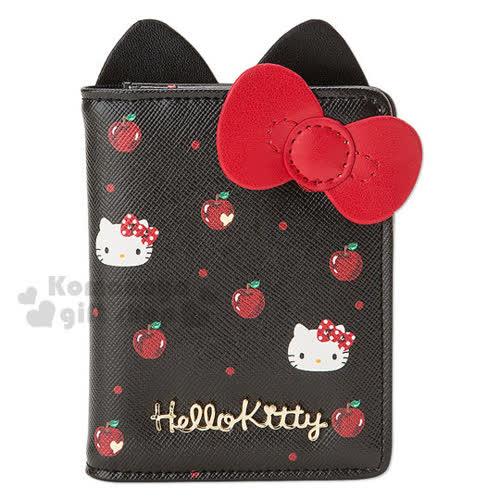 〔小禮堂〕Hello Kitty 皮革票卡夾《黑.蘋果.大臉.立體耳朵》