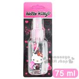 〔小禮堂〕Hello Kitty 噴霧式空瓶《透明.粉.坐姿.拿愛心.吊帶褲.75ml》可自由補裝內容物