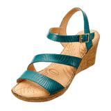 【Kimo德國手工氣墊鞋】雙線壓紋繫帶楔型涼鞋(藍K14SF019176)