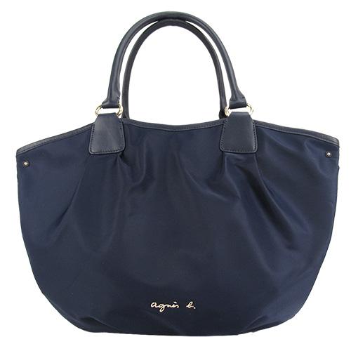 agnes b.金屬LOGO尼龍三層水滴包(大/深藍)