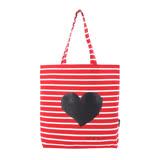 agnes b.愛心橫紋帆布手提包(紅)
