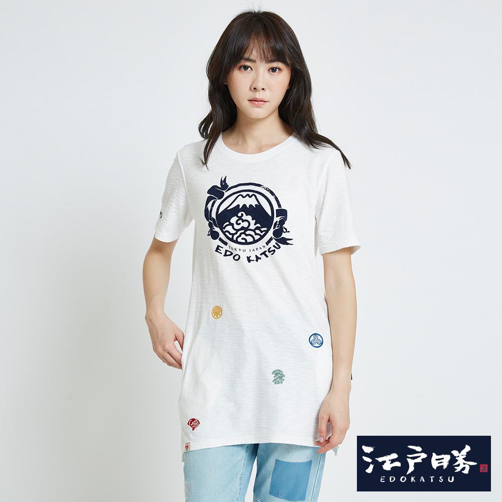 EDWIN 江戶勝古圖騰長版印花短袖T恤-女-米白色