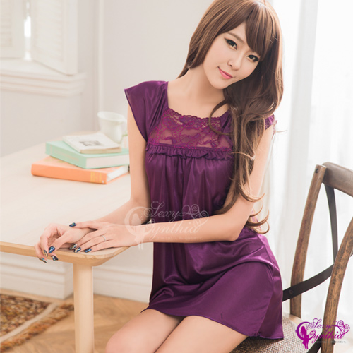 【Sexy Cynthia】性感睡衣 浪漫深紫色小蓋袖柔緞性感睡衣