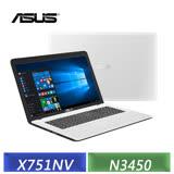 ASUS X751NV-0031BN3450 (N3450/17.3吋/4G/1TB/NV-920MX 2G/DVD/Win10) 天使白