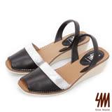 SM-台灣全真皮-方頭魚口雙色楔型中跟涼鞋-黑色