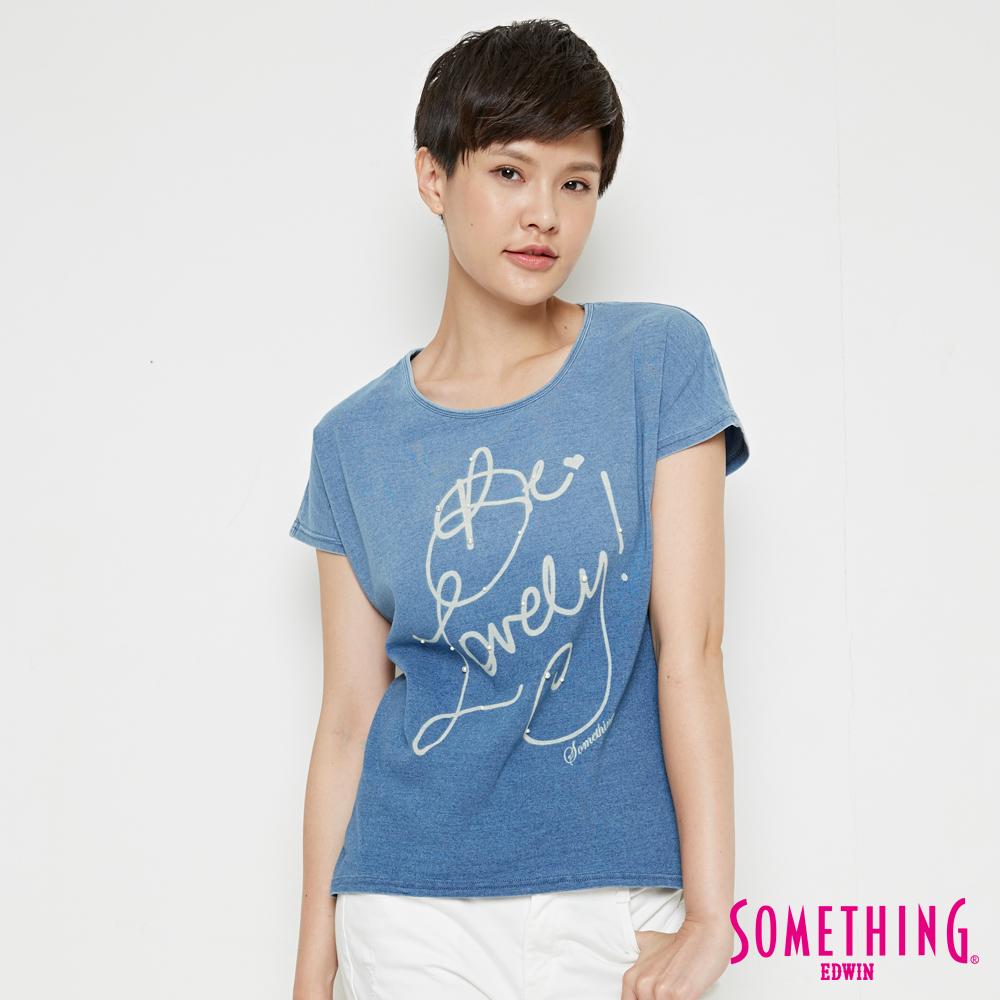 SOMETHING INDIGO丹寧漸層 短袖T恤-女-漂淺藍