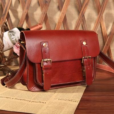 手提包真皮牛皮斜背包-歐美休閒復古郵差女包包2色73lp11【米蘭精品】