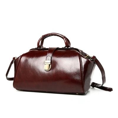 手提包真皮牛皮斜背包-歐美時尚大方復古女包包2色73lp14【米蘭精品】